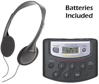 Sony Walkman Digital Tuning Portable Palm Size AM/FM Stereo Radio (Black) with Weather Band, 20 Station Preset Memory, DX Switch for Exceptional Reception, Convenient Belt Clip & Over the Head Stereo Headphones   Batteries Included   Designed for Joggi