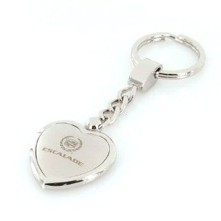Cadillac Escalade Satin/Chrome Two Tone Heart Shape Keychain Automotive