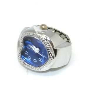 GREENWON Fashion Elegant New Heart Type Girls Manmade Stone Rhinestone Jewelry Finger Ring Watch, A Nice Valentine's Day Birthday gift for your Daughter or lovely gilrls (Blue)  Sports Fan Watches  Sports & Outdoors