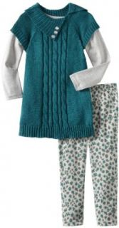 Little Lass Girls 2 6X Toddler 3 Piece Sweater Set With Buttons, Teal, 2T Clothing Sets Clothing