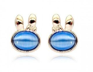 Charm Jewelry Swarovski Crystal Element 18k Gold Plated Blue Rabbit Exquisite Fashion Stud Earrings Z#684 Zg50459c Jewelry