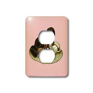 lsp_170352_6 BLN Victorian Pets and Animals Collection   Dog on Pink and Green Rug with Playful Puppy and a Kitten   Light Switch Covers   2 plug outlet cover