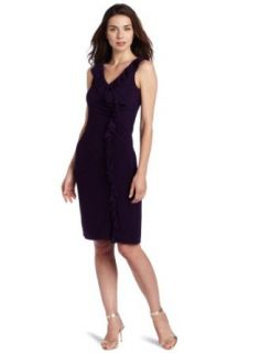 Jessica Howard Women's V Neck Side Ruffle Dress