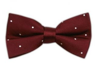 100% Silk Woven Burgundy and White Satin Dot Self Tie Bow Tie at  Men�s Clothing store