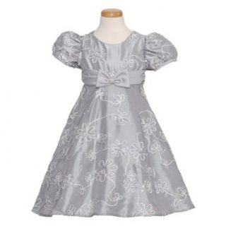 Rare Editions Baby Girls 12M Silver Sequin Flower Christmas Dress  Special Occasion Dresses  Baby