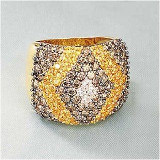 18kt. Gold Brown And White Diamond Ring With Yellow Sapphire (Size 6) Jewelry