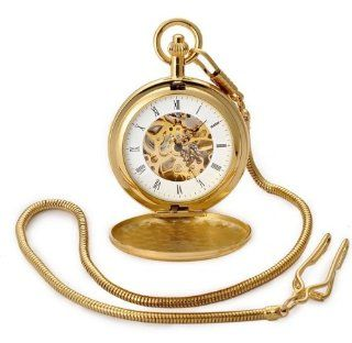 Vintage European classic Hollow Mechanical Pocket Watch Necklace Watch Birthday and Christmas Gifts (Gold)  Time Clocks  Electronics