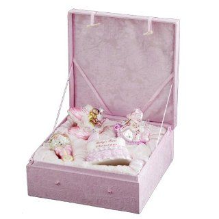 Kurt Adler NB0017G Noble Gems Glass Baby Girl Ornament, 4 Piece Set   Christmas Ball Ornaments