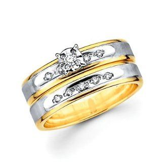 .13ct Diamond 14k Two Tone Gold Engagement Wedding 2 Ring Set (H I Color, I1 Clarity) Jewelry