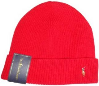 Polo Ralph Lauren Mens Merino Wool Hat Skull Cap Red with Classic Pony Clothing