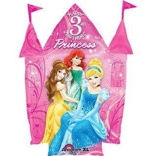 "Disney Princess Happy 3rd Birthday 26"" Balloon Pink Castle Shape with Belle A Toys & Games"