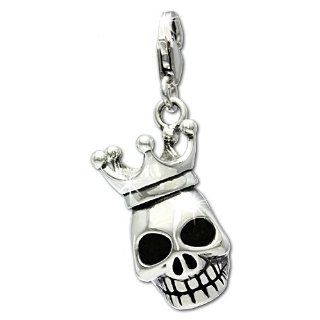 SilberDream Charm skull with 3D crown, 925 Sterling Silver Charms Pendant with Lobster Clasp for Charms Bracelet, Necklace or Earring FC694 Clasp Style Charms Jewelry