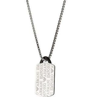 Emporio Armani EGS1156 Men's Silver Tone Stainless Steel Dog Tag Necklace