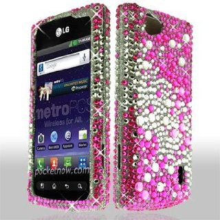LG Optimus M+ / Plus / MS695 MS 695 Cell Phone Full Crystals Diamonds Bling Protective Case Cover Silver and Hot Pink 2 tone Mix Love Hearts Gemstones Design Cell Phones & Accessories