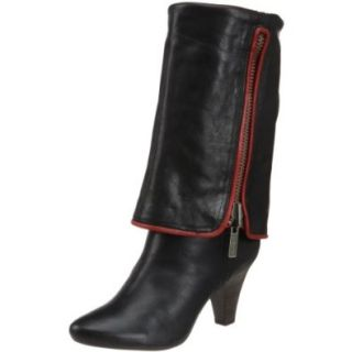 FRYE Dannika Piping Zip Womens Antiqued Leather Foldover Boots Heels Shoes Black/Red Shoes