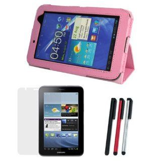 EveCase Pink PU Leather HandStrap Cover Case with Built in Stand Plus Clear LCD Screen Protector, 3 Colors Universal Stylus for Samsung Galaxy Tab 2 Android TouchScreen Tablet (7.0 inch,WiFi, P3100/ P3110) Computers & Accessories