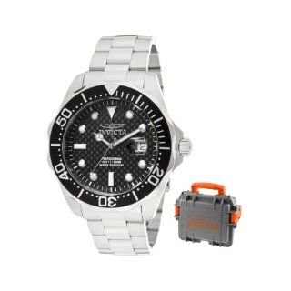 Invicta Men's 12562 Pro Diver Black Carbon Fiber Dial Stainless Steel Watch with Grey/Orange Impact Case Watches