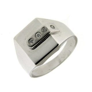 0.15 ct White Gold Diamond Mens Fashion Ring 14 K Jewelry