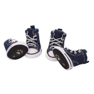 Pet Dog Puppy Nonslip Canvas Sport Shoes Sneaker Boots Rubber Sole Size 5 Blue  Boots For Dogs