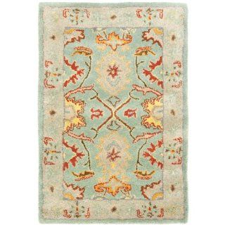 Safavieh Heritage Collection HG734A Handmade Light Blue and Ivory Hand Spun Wool Area Rug, 3 Feet by 5 Feet