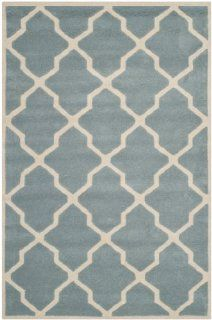 Safavieh CHT735B Chatham Collection Wool Hand Tufted Area Rug, 3 Feet by 5 Feet, Blue and Ivory