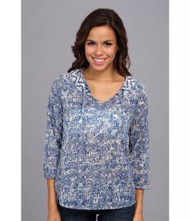 Lucky Brand Printed Top Womens Clothing (Blue)
