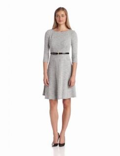 Anne Klein Women's Heather Boucle Swing Dress, Pewter Multi, 4