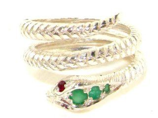 Fabulous Solid White 9K Gold Natural Emerald & Ruby Detailed Snake Ring   Finger Sizes 5 to 12 Available Right Hand Rings Jewelry