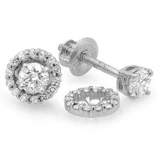 0.45 Carat (ctw) 14k White Gold Round Diamond Ladies Halo Style Stud Earrings With Removable Jackets 1/2 CT Jewelry