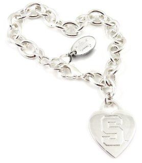 NCAA Michigan State Spartans Heart Tag Bracelet  Sports Fan Bracelets  Sports & Outdoors