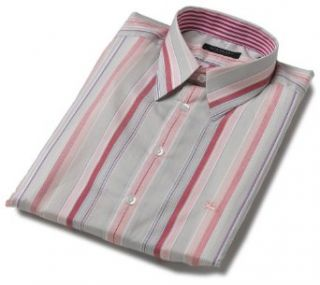 Burberry Men's Spread Collar Dress Shirt, Grey/Pink Pinstripe, Size Large at  Men�s Clothing store