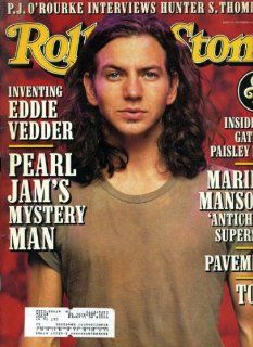 Rolling Stone November 28 1996 #748 Eddie Vedder/Pearl Jam Cover, Marilyn Manson, Pavement, Tool, P.J. O'Rourke Interviews Hunter S. Thompson Jann Wenner Books