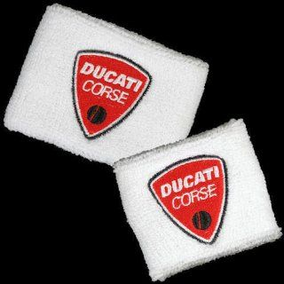 Ducati Corse White Brake and Clutch Reservoir Sock Cover Set Fits 748, 749, 848, 848 Evo, 916, 996, 998, 999, 1098, 1198, ST2, ST3, ST4, Streetfighter, Hypermotard, Multistrada, Monster 1100 Automotive