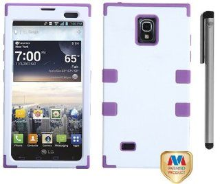Lg Spectrum 2 VS930 Tuff Hybrid Phone Protector Cover Case with ApexGears Stylus Pen (White/Purple) Cell Phones & Accessories