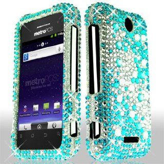 ZTE Score M X500 X 500M MetroPCS / Metro PCS Cell Phone Full Crystals Diamonds Bling Protective Case Cover Silver and Blue 2 tone Mix Love Hearts Gemstones Design Cell Phones & Accessories