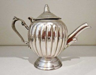 Silver Plated Ribbed Decorated Brass Candle Teapot
