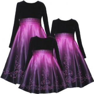 Rare Editions Girls 2T 6X FUCHSIA PINK OMBRE VELVET SATIN CAVIAR BEADED Special Occasion Flower Girl Holiday Pageant Party Dress 4T RRE 41450H H241450 Clothing