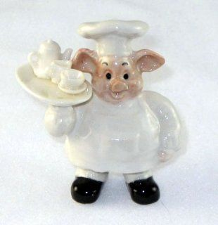 PIG CHEF holds White TEA SET Miniature Piglet Porcelain KLIMA L756F   Collectible Figurines