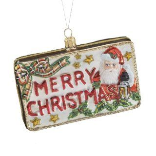 Kurt Adler 3.74 Inch Polonaise Glass Merry Christmas Postcard Ornament   Decorative Hanging Ornaments
