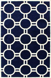 Safavieh CHT739B Chatham Collection Wool Handmade Area Rug, 3 Feet by 8 Feet, Blue and Ivory