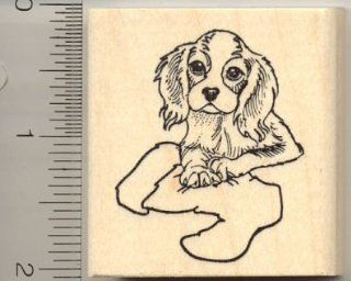 Cavalier King Charles Spaniel with Christmas Stocking Rubber Stamp