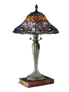 Dale Tiffany 8503/767 Peacock Tail Table Lamp, Fieldstone and Art Glass Shade
