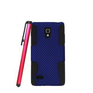 [ManiaGear] LG P769 Optimus L9 Blue/Black Duo Layer Hybrid Case + Screen Protector & Stylus Pen Cell Phones & Accessories