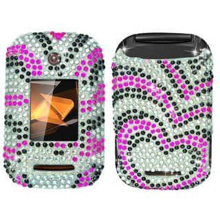 Hard Plastic Snap on Cover Fits Motorola WX400 Rambler Hot Pink/Silver Hearts Full Diamond Boost Mobile Cell Phones & Accessories