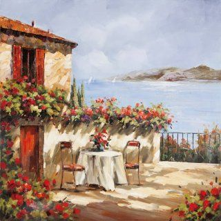 Yosemite Home Decor YG130079A Villa Del Mar Seascape Hand Painted Artwork   Oil Paintings
