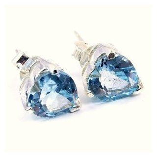 'Lovely Hearts' Sterling Silver Blue Topaz Studs Earrings Jewelry