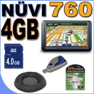 "Garmin Nuvi 760 Portable GPS Vehicle Navigation System w/ 4.3"" LCD Widescreen (0100065710) BeanBag 4GB SD BigVALUEInc Accessory Saver Bundle + MORE GPS & Navigation"