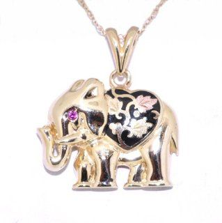 14K Yellow Gold Fancy Elephant Charm Pendants Jewelry