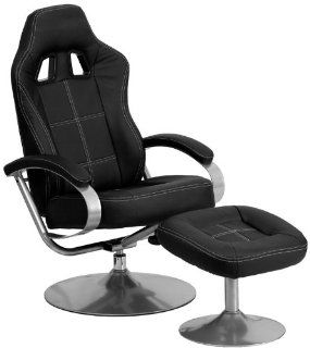Racing Style Black Vinyl Recliner and Ottoman by Flash Furniture