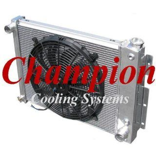 "3 Row All Aluminum Replacement Radiator AND 16"" Reversible Fan for 1967 1969 Chevy Camaro 5.7 V8, 1967 1969 Pontiac Firebird / Trans Am  5.2/5.7 V8  Manufactured by Champion Cooling Systems, Part Number 370FAN Automotive"